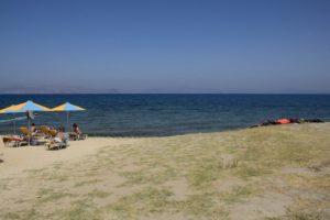 Des vacanciers et des gilets de sauvetages abandonnés de part et d'autre d'une plage de Kos Grèce