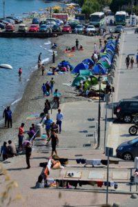 Des tentes de migrants dans le centre ville de Kos