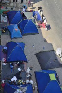 Des tentes de migrants dans le centre ville de Kos Grèce