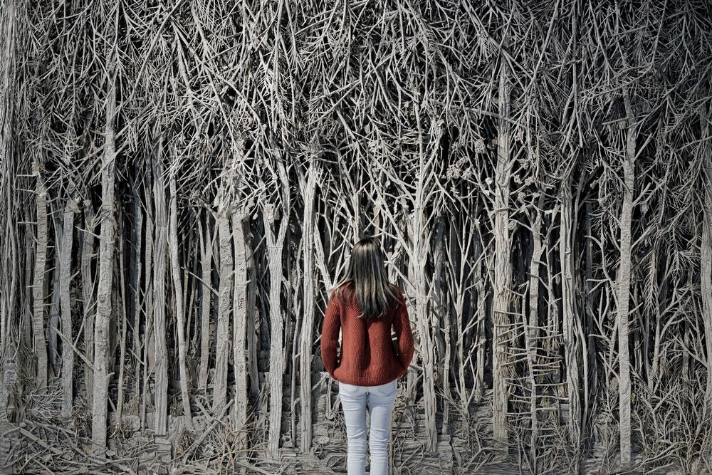 Une femme portant un pull orange debout face à une forêt artificielle