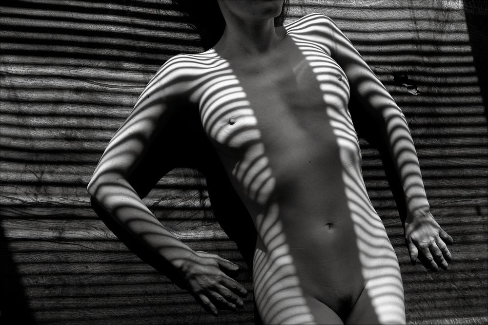 Une femme nue parcourue de traits de lumière zébrés